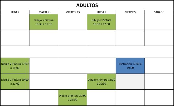 horarios adultos cuadro